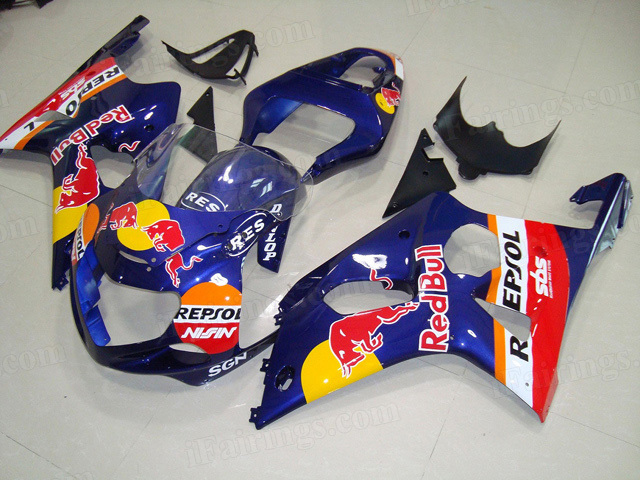 2000 2001 2002 Suzuki GSXR1000 blue RedBull graphic fairing kits.