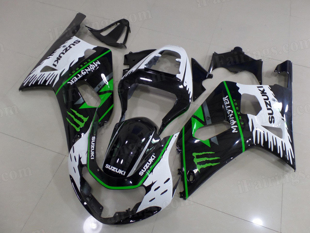 2000 2001 2002 Suzuki GSXR1000 white and black fairing kits.