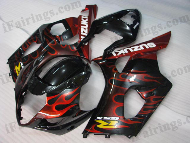2003 2004 Suzuki GSXR1000 red flame fairing kits.