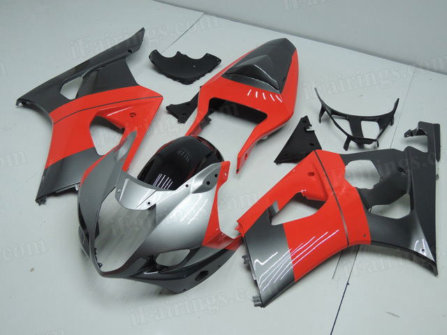 2003 2004 Suzuki GSXR1000 silver and red custom paint fairings.