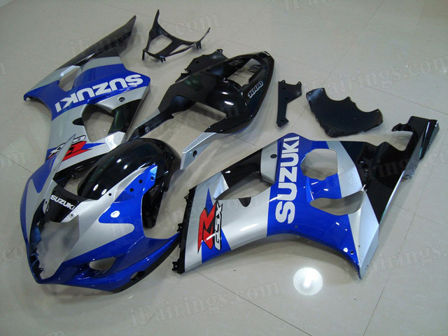 2003 2004 Suzuki GSXR1000 silver/blue/black fairing kits.