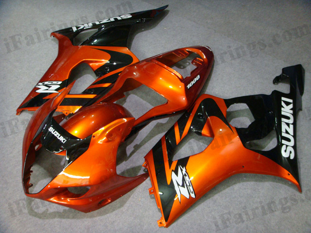 2003 2004 Suzuki GSXR1000 orange and black fairing kits.