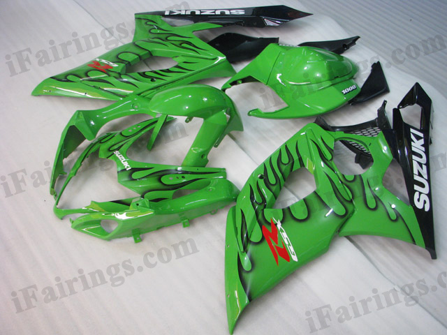 2005 2006 Suzuki GSXR1000 green and black flame fairing kits.