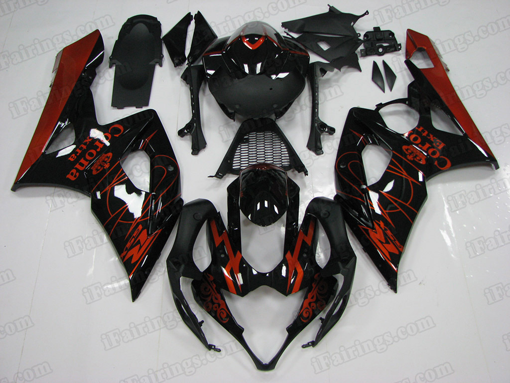 2005 2006 Suzuki GSX-R 1000 Black Extra Fairing Kit