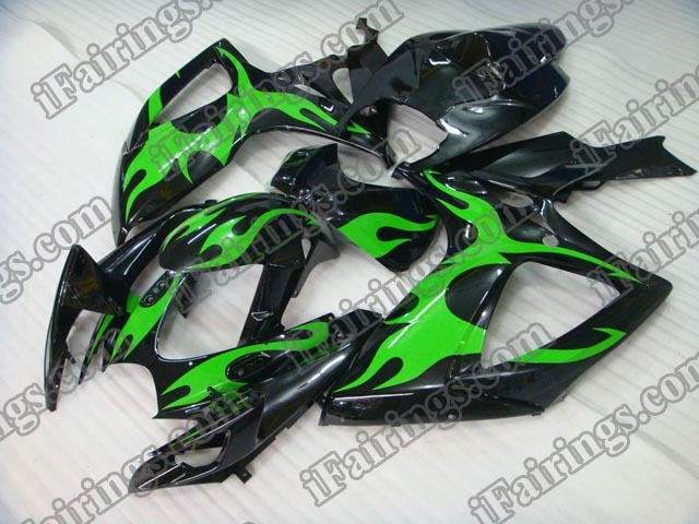 2006 2007 GSXR600/750 green flame fairings, GSXR600/750 2006 2007 replacement bodywork.