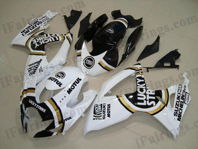 2006 2007 GSXR600/750 Lucky Strike fairings, GSXR600/750 2006 2007 Lucky Strike decals.