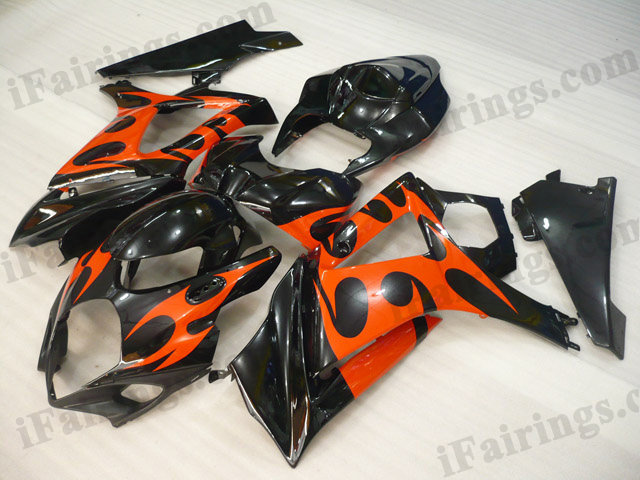 2007 2008 Suzuki GSXR1000 black and orange fairing kits.