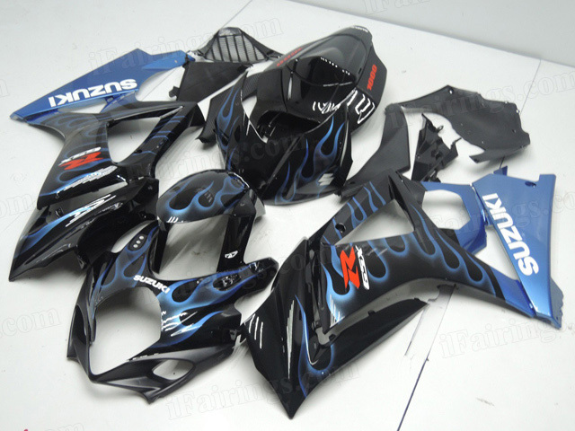 2007 2008 Suzuki GSXR1000 black fairings with blue ghost flame.