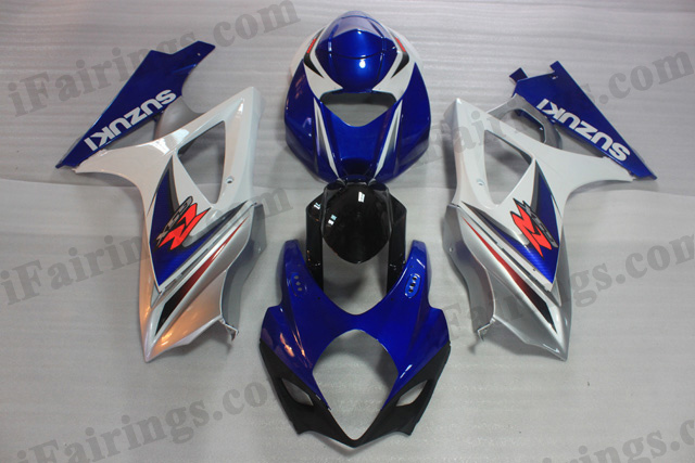 2007 2008 Suzuki GSXR1000 blue and white factory fairing kits.