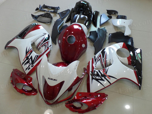 2008 to 2017 Suzuki GSXR 1300 Hayabusa red and white fairing kits.