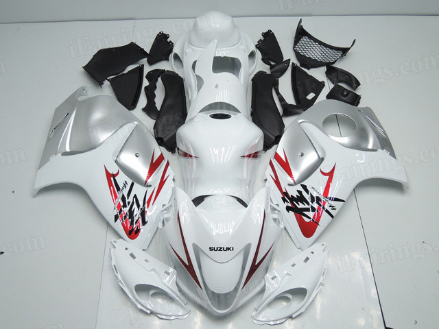 2008 to 2017 Suzuki GSXR 1300 Hayabusa white and silver fairings.