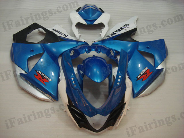 2009 2010 2011 2012 2013 2014 Suzuki GSXR1000 blue and white fairing sets.