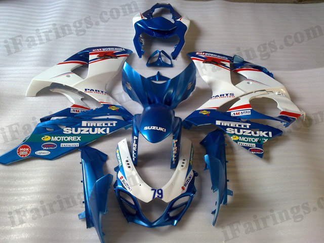2009 2010 2011 2012 2013 2014 Suzuki GSXR1000 white and blue scheme fairings.