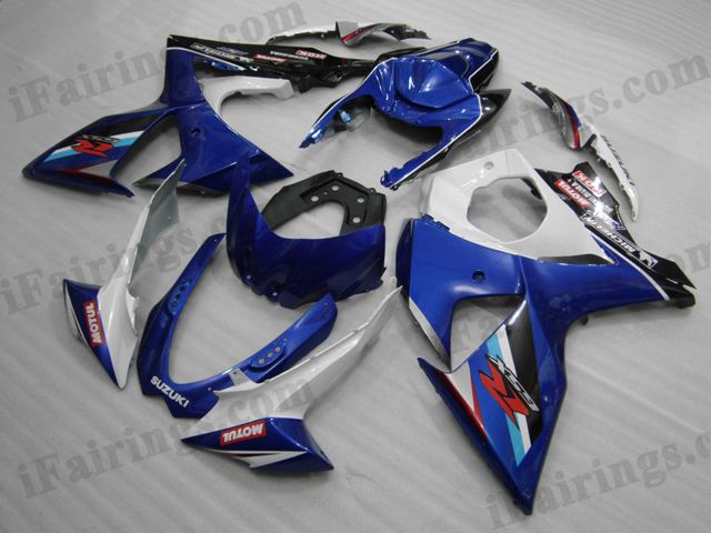 2009 2010 2011 2012 2013 2014 Suzuki GSXR1000 white and blue fairing sets.