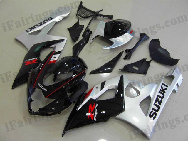 Aftermarket fairings for 2005 2006 GSXR1000 silver/black color.