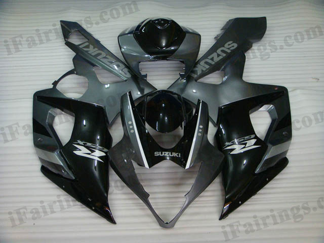 Custom fairings for 2005 2006 GSXR1000 black/grey scheme