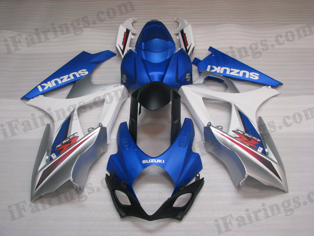gixxer 2007 2008 GSXR1000 blue, white and silver fairings