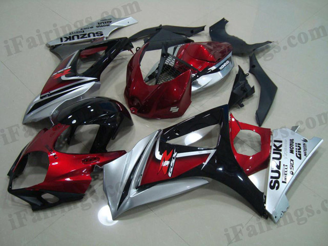 gixxer 2007 2008 GSXR1000 red, silver and black fairings