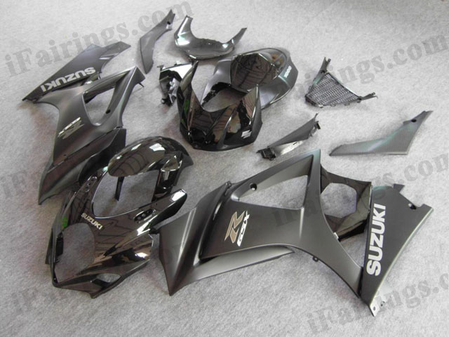 Custom fairings for 2007 2008 GSXR1000 matt black/glossy black graphic