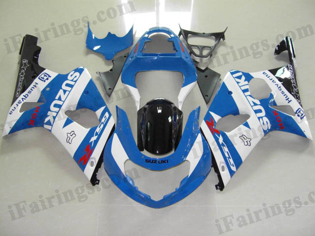 gixxer 2000 2001 2002 GSXR1000 blue and white fairings