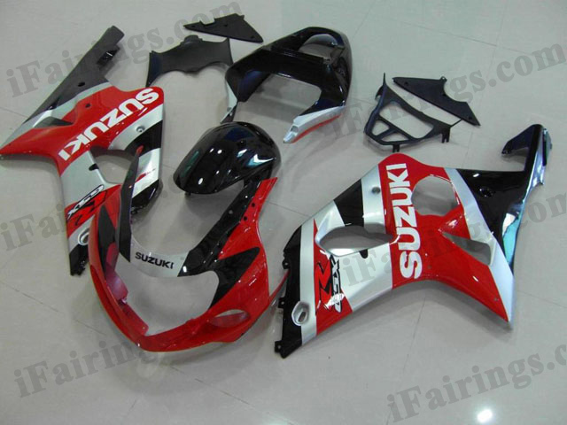 gixxer 2000 2001 2002 GSXR1000 red,silver and black fairings