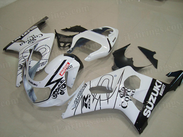 GSXR1000 2000 2001 2002 white Corona fairings, 2000 2001 2002 GSXR1000 replacement body kits.