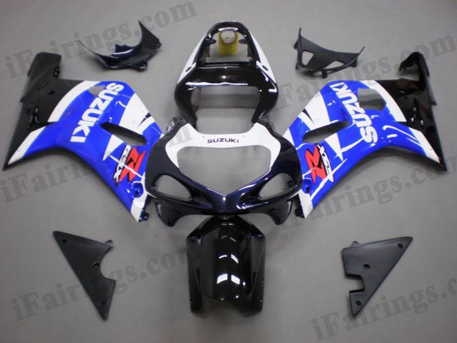 GSXR1000 2000 2001 2002 blue/white/black fairings, 2000 2001 2002 GSXR1000 decals.