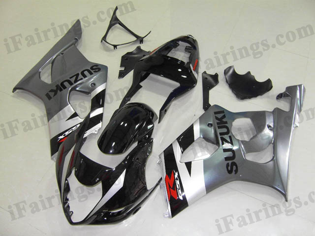 GSXR1000 2003 2004 black and grey fairings, 2003 2004 GSXR1000 replacement.
