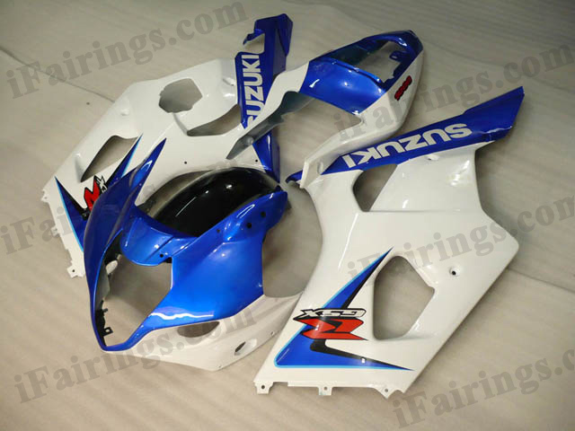 GSXR1000 2003 2004 blue and white fairings, 2003 2004 GSXR1000 graphics.