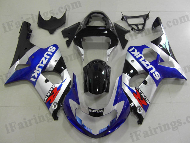 GSXR1000 2000 2001 2002 blue/silver/black fairings, 2000 2001 2002 GSXR1000 replacement body kits.