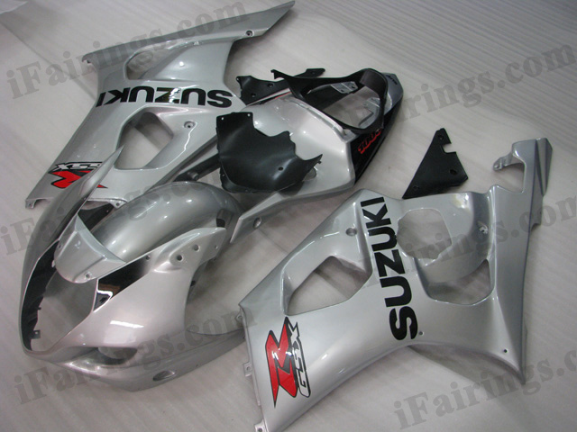 GSXR1000 2003 2004 silver fairings, 2003 2004 GSXR1000 replacement bodywork..