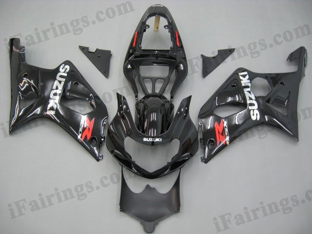 GSXR1000 2000 2001 2002 glossy black fairings, 2000 2001 2002 GSXR1000 graphics.