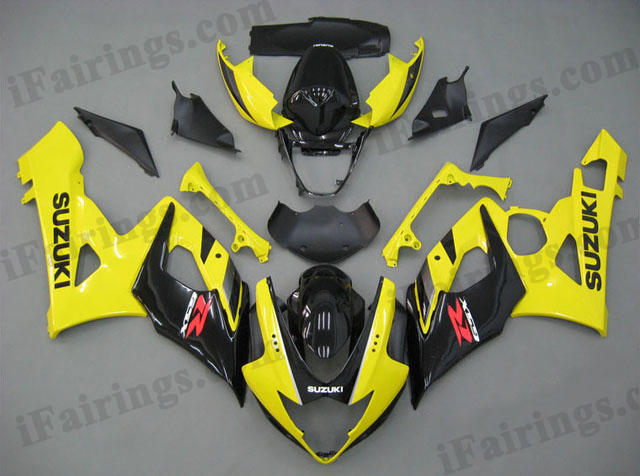 GSXR1000 2005 2006 yellow and black fairings, 2005 2006 GSXR1000 decals.