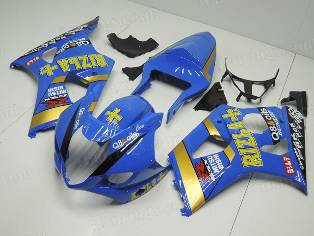GSXR1000 2003 2004 Rizla replica fairings, 2003 2004 GSXR1000 Rizla decals.