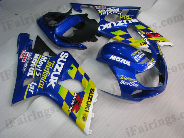 GSXR1000 2000 2001 2002 Telefonica Movistar fairings, 2000 2001 2002 GSXR1000 body kits.