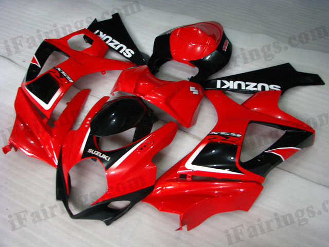GSXR1000 2007 2008 red and black fairings, 2007 2008 GSXR1000 decals.