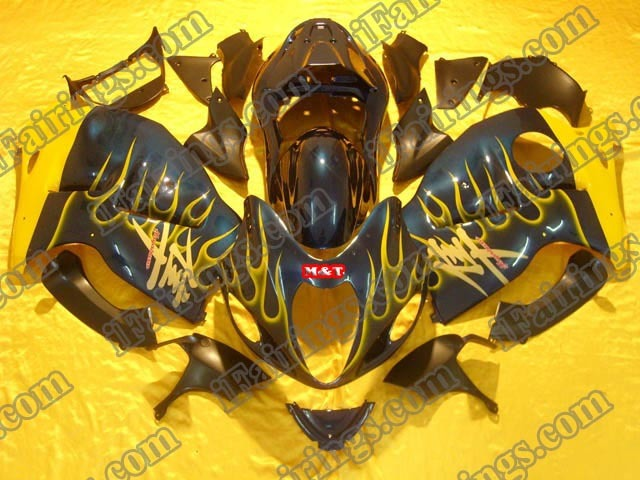 hayabusa 1999 to 2007 GSXR1300 black and yellow flame fairings