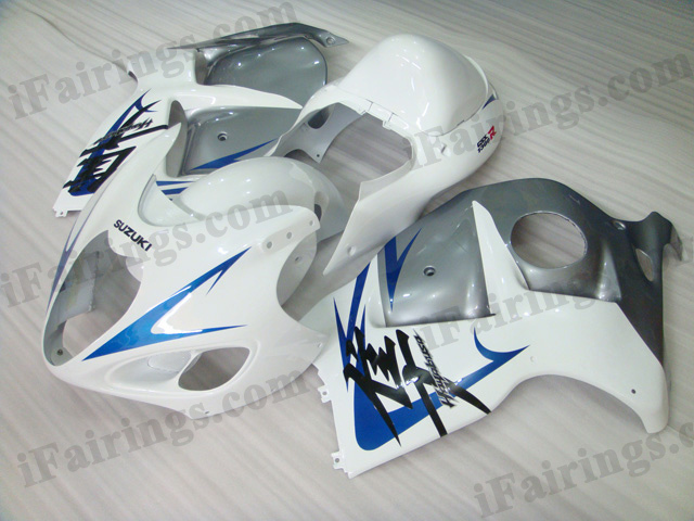 hayabusa 1999 to 2007 GSXR1300 white and silver fairing kits