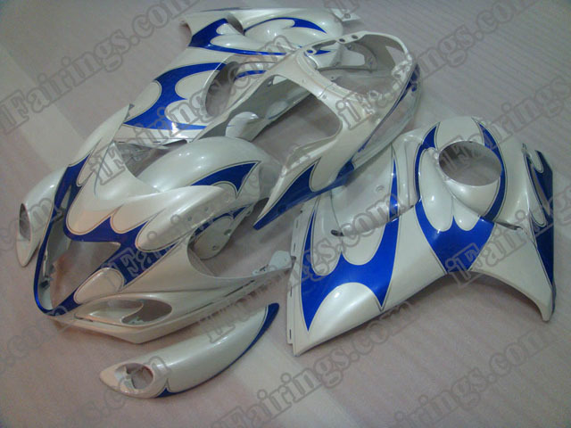 hayabusa 2008 to 2017 GSXR1300 white and blue fairings.