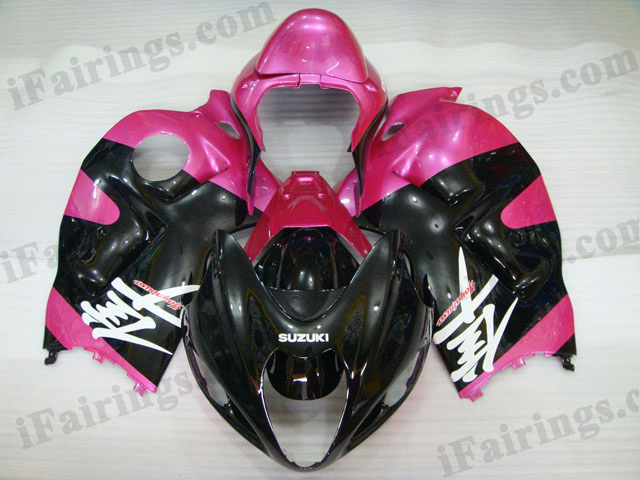 Hayabusa fairing kits for GSXR1300 1999 to 2007 pink and black.