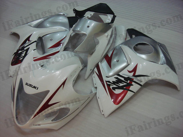 hayabusa 2008 to 2017 GSXR1300 white and silver fairings.