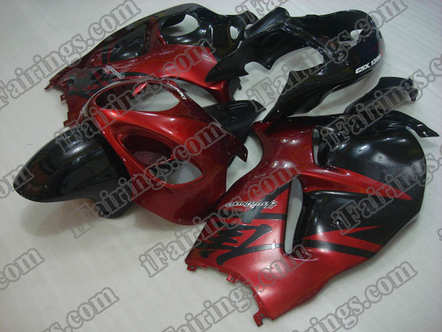 Hayabusa fairings for GSXR1300 1999 to 2007 red and black graphic.
