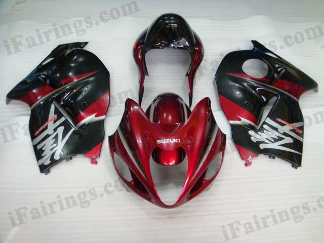 Hayabusa fairings for GSXR1300 1999 to 2007 red and black.
