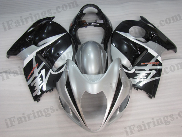 Hayabusa fairings for GSXR1300 1999 to 2007 silver and black scheme.