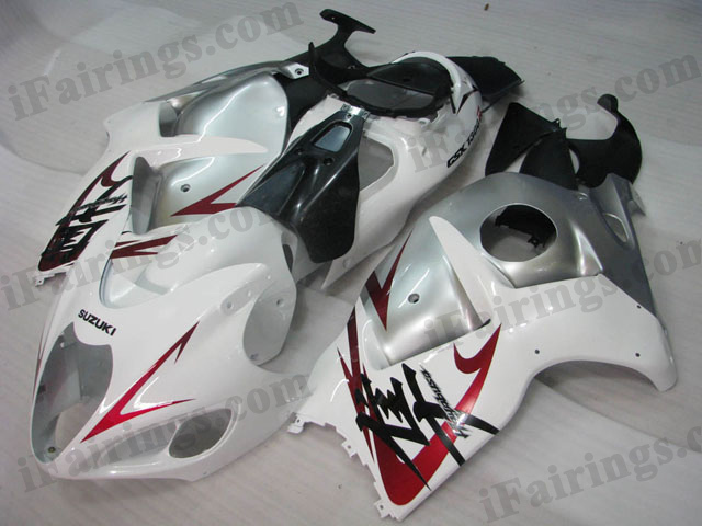 Hayabusa fairings for GSXR1300 1999 to 2007 white and silver graphic.