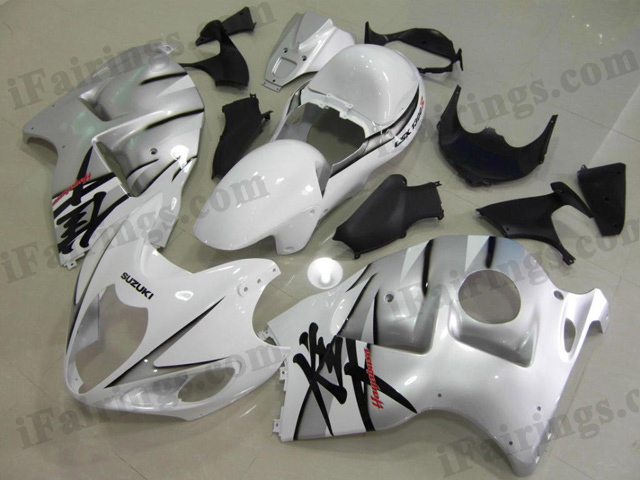 Hayabusa fairings for GSXR1300 1999 to 2007 white and silver.