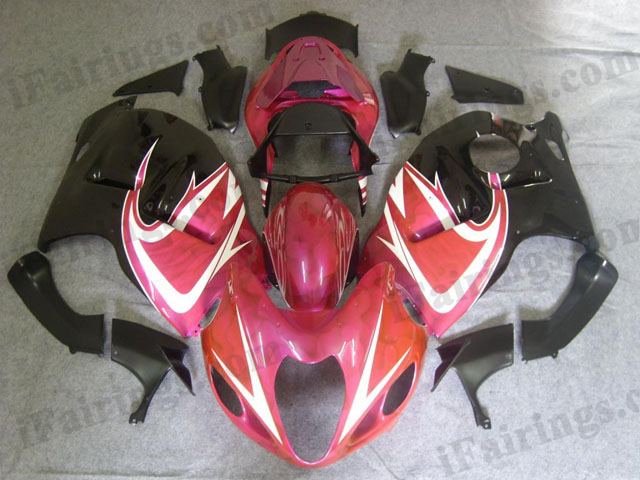 Hayabusa fairings for GSXR1300 1999 to 2007 pink and black.