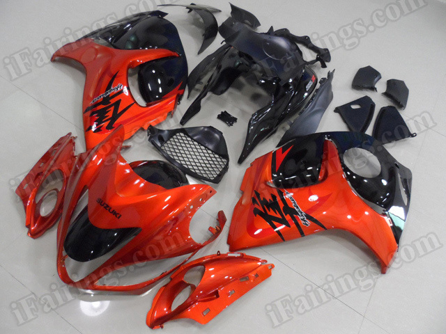 Motorcycle fairings for 2008 to 2017 Suzuki Hayabusa GSXR 1300 burnt orange and black.