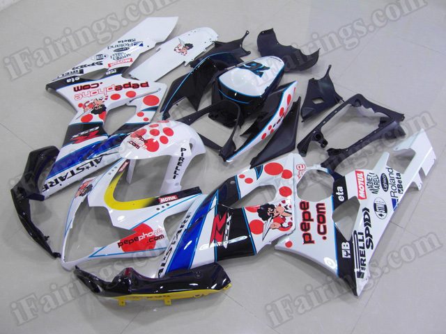 Motorcycle fairings/body kits for 2005 2006 Suzuki GSXR 1000 pepe phone replica.