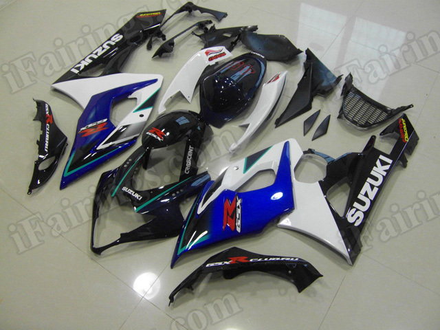 Motorcycle fairings/body kits for 2005 2006 Suzuki GSXR 1000 blue, white and black.